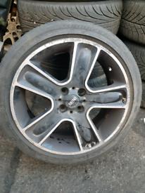 "Mini bbs 17 "" inch spare wheel or replacement black gloss chrome strip"