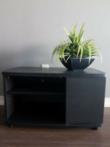 Simple black TV stand and storage unit