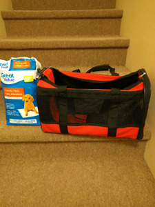 Airline pet carrier and training pads