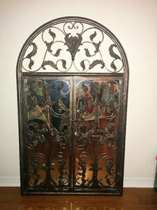 Antique finish wrought iron mirror