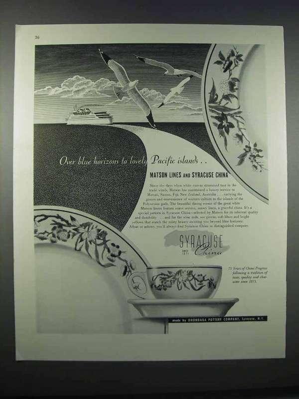 1946 Matson Lines and Syracuse China Ad - Blue Horizons