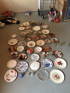 Variety of Colletor Plates and Crystal Cream and Sugar