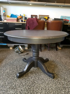 Rustic Antique Black Farmhouse Table With Leaf