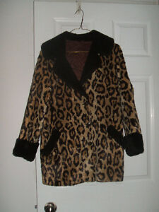 VINTAGE PUNK JAGUAR FAUX FUR COAT WITH MOUTON TRIM