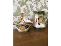 Staffordshire Iron Stone vintage jug and basket fruit design