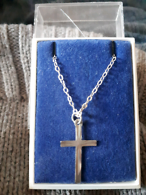 Vintage solid silver cross on chain