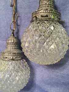 Rare antique light pendant with 2 globes