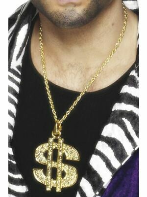 Dólar Letrero Medallón Oro Cadena Chulo Gangsta Rapero Disfraz Hombre Accesorio