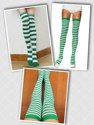 St. Patrick's Day Green and White Stripe Socks Striped Knee-Highs Thigh High