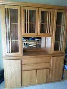 Solid Oak China/Display cabinet and hutch