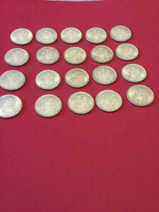 Canada half dollar 50 cent 1966 silver coin lot of 20