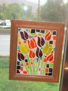 Unique framed mosaic stained glass pictures. Tulips