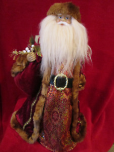 """Santa Clause Soft Red Velvet with Bag of Toys 23"""" Christmas deco"""