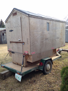 Utility trailer & Ice shack with wood burning stove