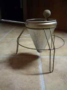 Sieve Collander with Wood Pestle and Stand