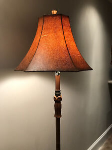 Brown leather shade floor lamp