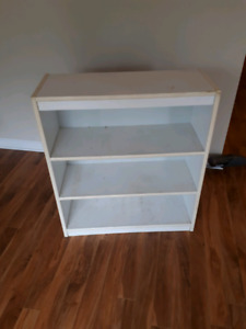 Sturdy white bookshelf