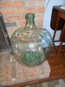 Very Large heavy Green Glass Jar