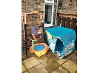 Swing, trampoline and play tent/bus