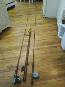 Antique bamboo fly fishing rods & reels with support, 2  Cannes