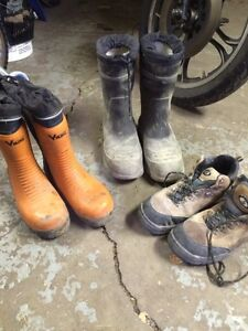 Steel toe and rubber boots