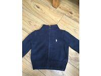 Ralph Lauren 12 month navy knitted zipper