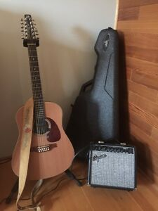 Seagull 12 strings with hard case +Fender Squier amp.