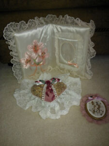 satin photo frame and two lace ornaments