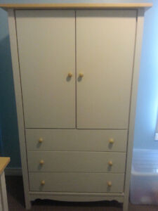 Solid Wood Single Bed, Armoire & 3-Drawer Dresser