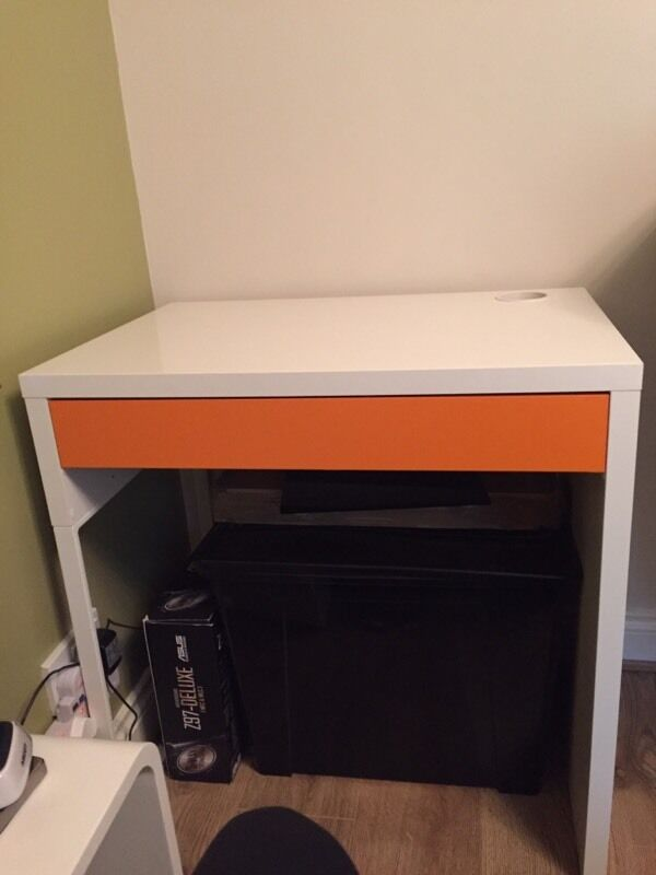 Ikea micke desk white and orange in newport gumtree for White desk ikea
