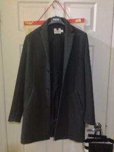 Topman Men's Grey Wool Overcoat