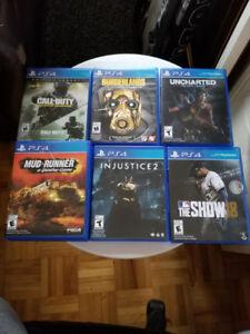 Jeux vidéos play station 4 (PS4) pratiquement neuf, $35 chacun