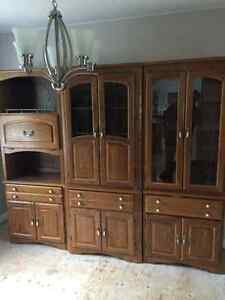 Solid oak three piece entertainment center $300 OBO