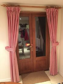 Laura Ashley red gingham curtains