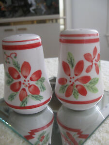 PAIR of COLOURFUL FRESH-LOOKING POTTERY SALT and PEPPERS