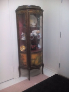 Beautiful display cabinet dark cherry colour and brass