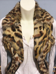GUESS Leopard Genuine Real RABBIT FUR VEST w/ Leather, Size S London Ontario image 3
