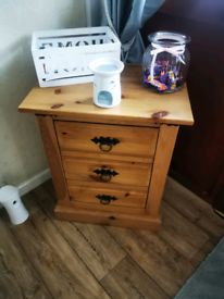 3 drawer Mexican pine table