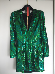 BALMAIN X HM GREEN SEQUINNED DRESS- Size 4-Very Rare Item