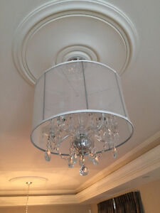 """19"""" Crystal Chandalier with String Shade Drum"""
