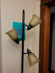 Black metal triple light with glass shades