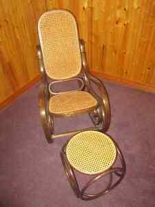1980s Bentwood Rocking Chair & Ottoman London Ontario image 1