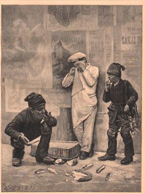 """Bäcker-Schornsteinfeger""""Des einen Leid des anderen Freud.Orig. Holzstich v. 1899"""