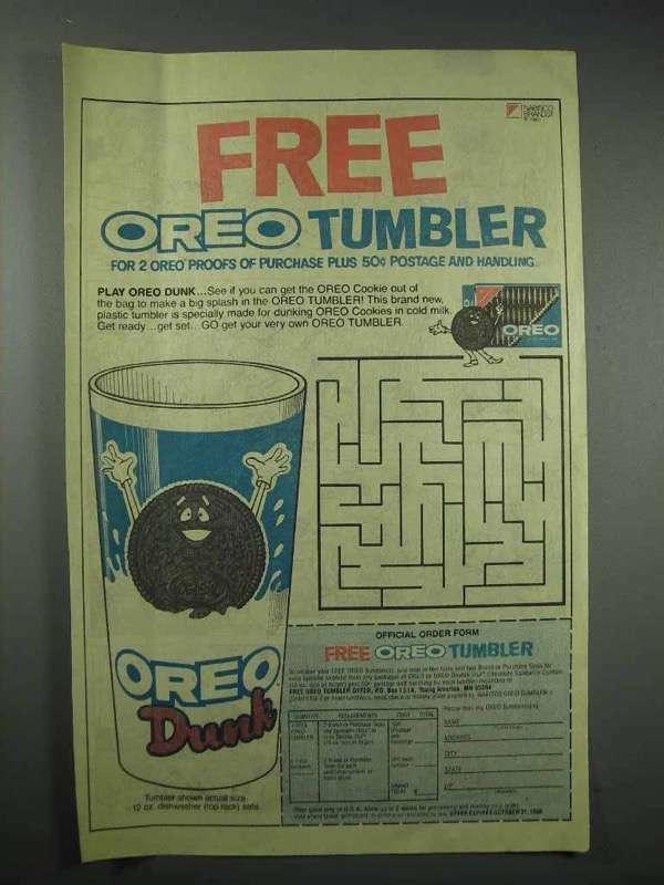 1985 Nabisco Oreo Cookies Ad - Oreo Dunk Tumbler