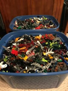 3 Tubs of LEGO brand Bionicle, Knight, and Hero Factory!