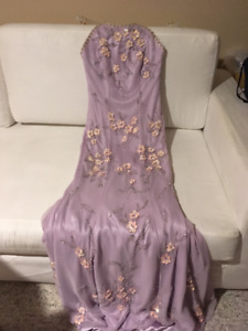 satin lilac evening gown