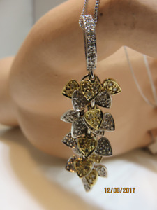 14KT YELLOW & WHITE GOLD MULTI HEART CHARMS DROP PENDANT