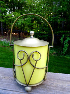 1930s yellow SLACK & BARLOW cased glass BISCUIT BARREL SHEFFIELD