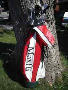 Golf bags and golf clubs