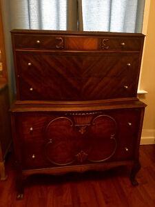 1930s Antique Walnut Dresser Highboy OBO